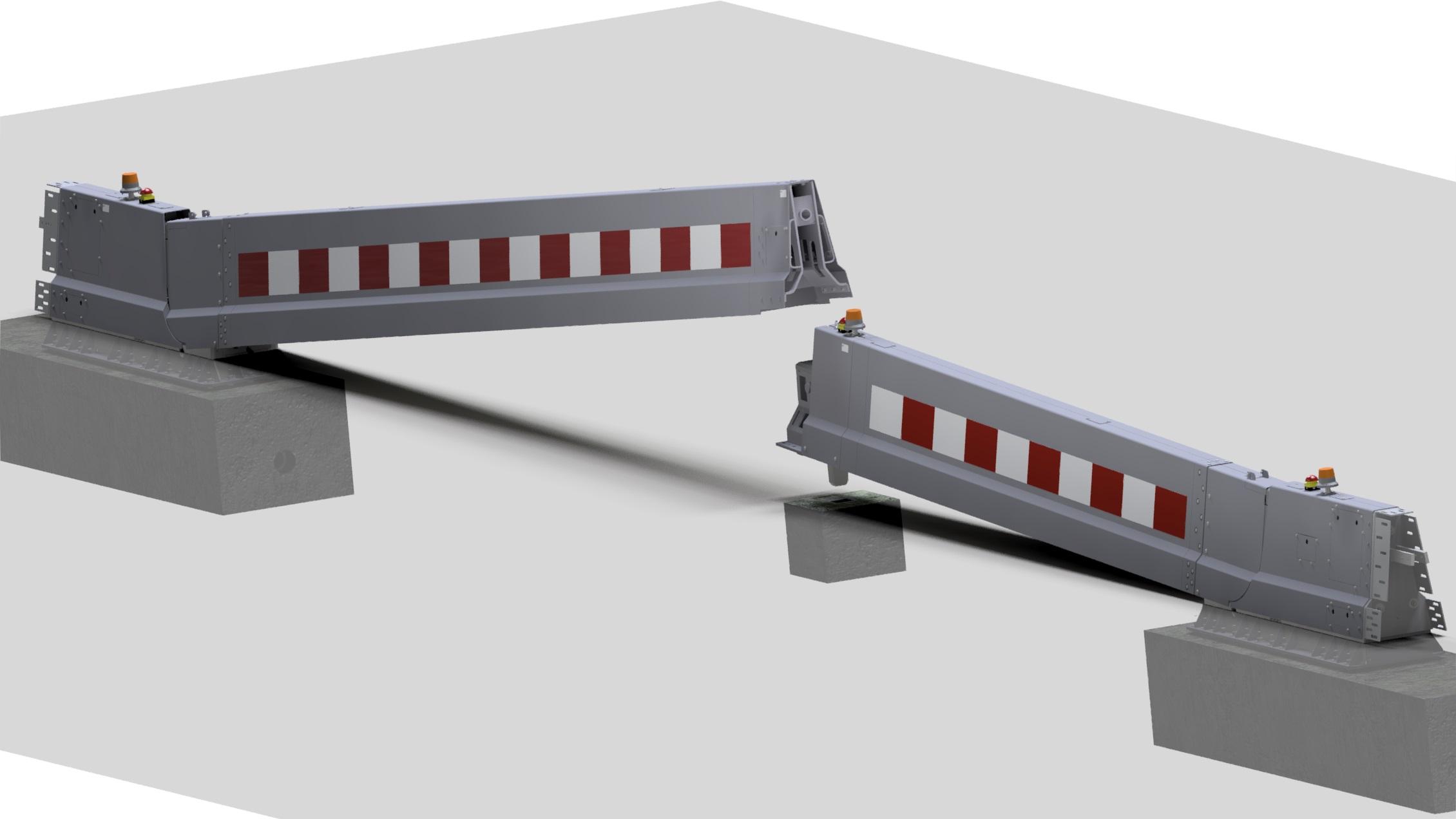 15 meter duo electrical CADO emergency barrier with road SPIE
